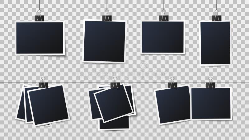 Photos on clips. Vintage photo frame, framed photograph and frames on pins template vector illustration vector illustration
