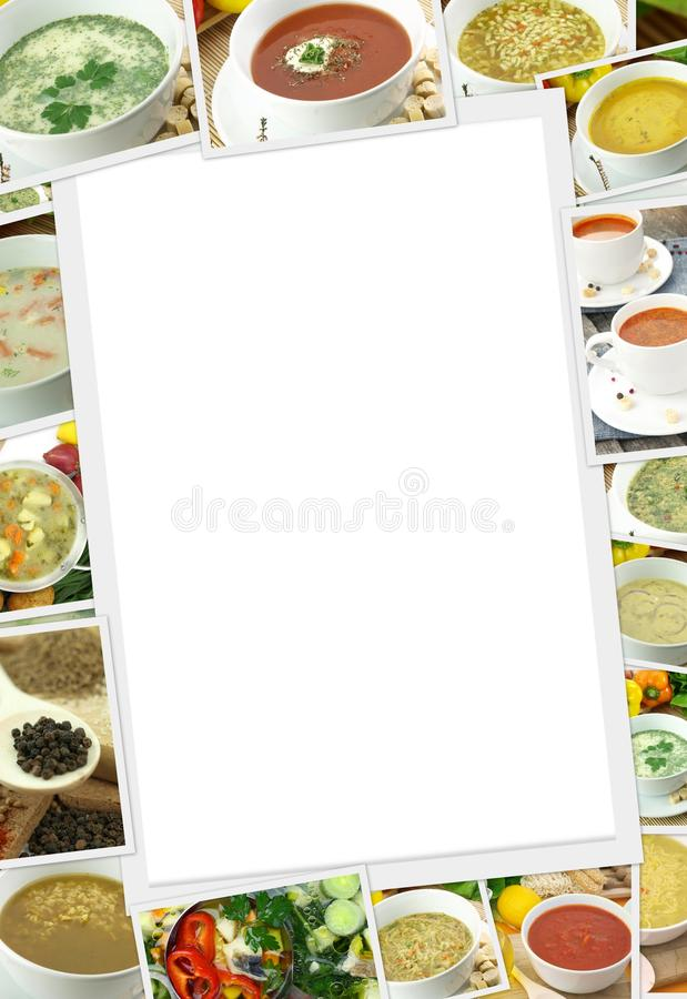 Photos collection of different types of soup. With copy space stock illustration