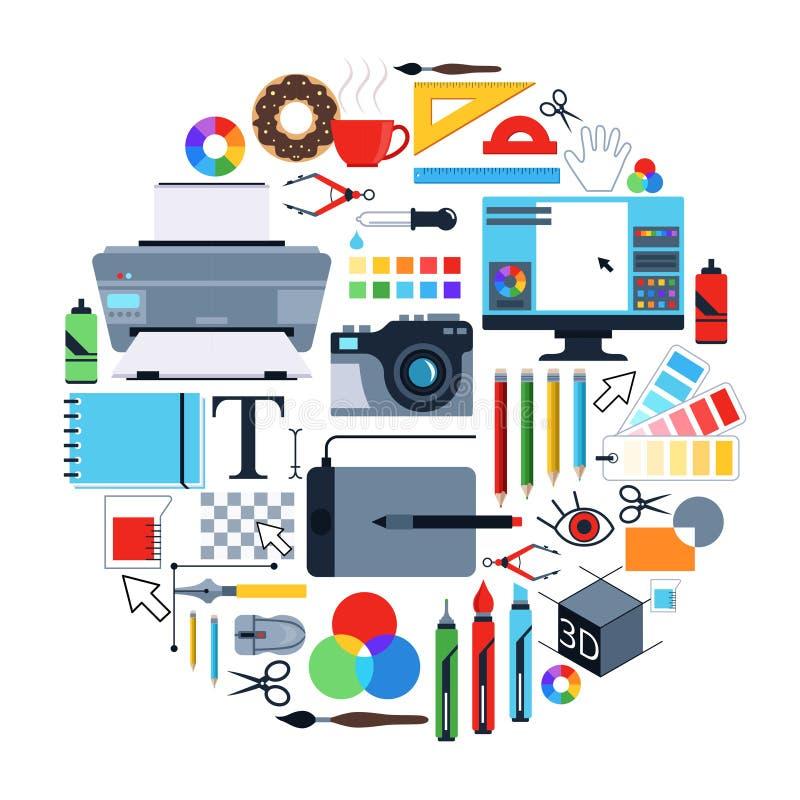 Photos de vecteur des outils pour les concepteurs Icônes réglées dans la forme de cercle illustration stock