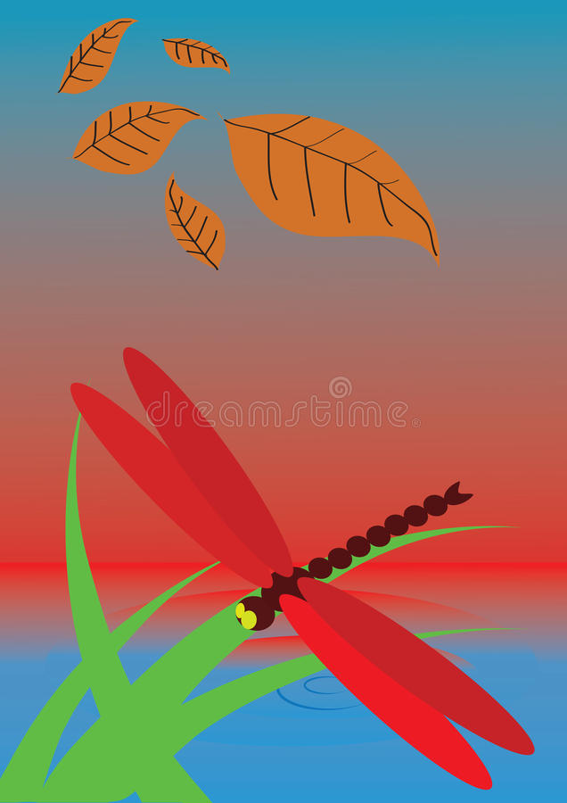 Download Photos Dragonfly Perched On A Blade Of Grass Stock Vector - Image: 29419737