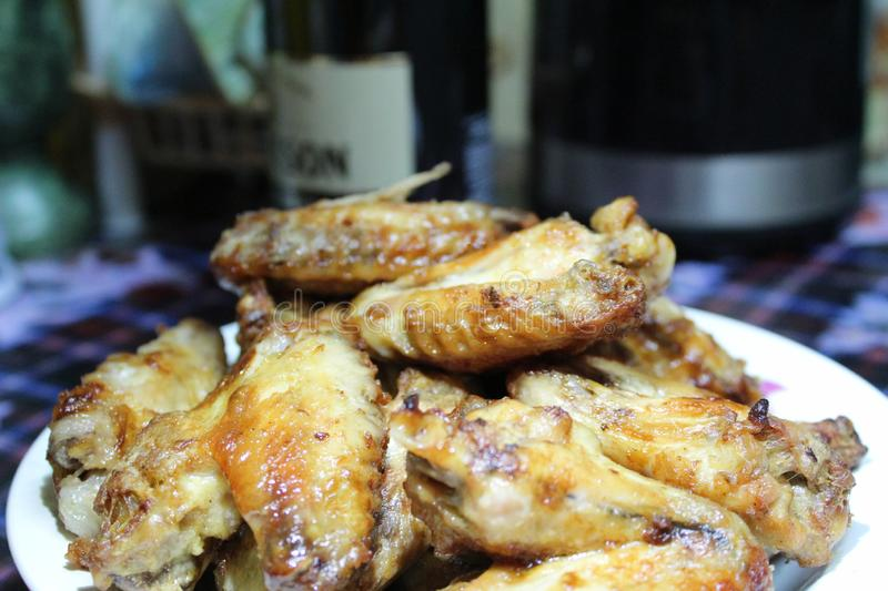 Fried chicken wings tasty home-cooked royalty free stock photo
