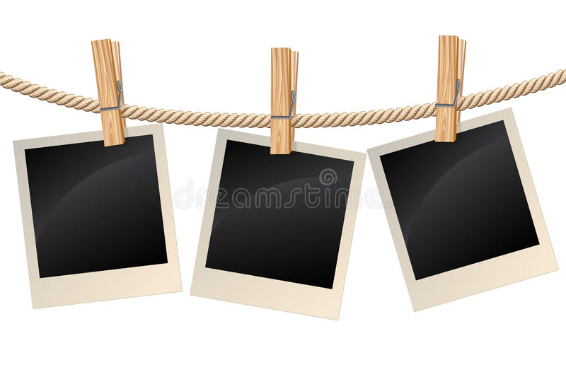 Photos hanging on a clothesline stock illustration