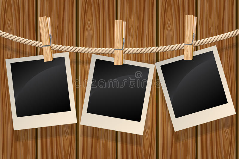 Photos hanging on a clothesline vector illustration