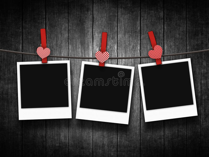 Download Photos Hanging On Clothesline With Heart Clothespin Stock Illustration - Illustration: 36564319