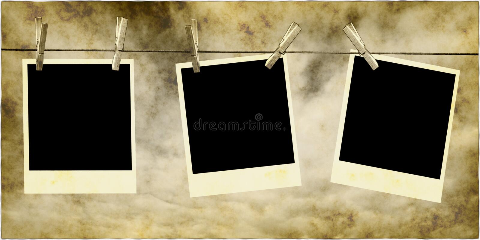 Photos Hanging On Rope royalty free illustration