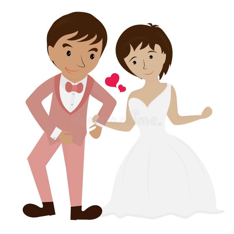 Photos heureuses de mariage illustration stock