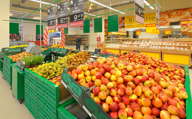 Photos at Hypermarket Auchan. GALATI, ROMANIA - APRIL 04: Photos at Hypermarket Auchan grand opening in Galati, Romania on April 04, 2014 royalty free stock photo