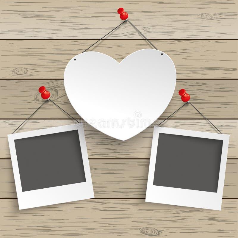 Photos instantanées de la punaise 2 de papier de coeur illustration de vecteur