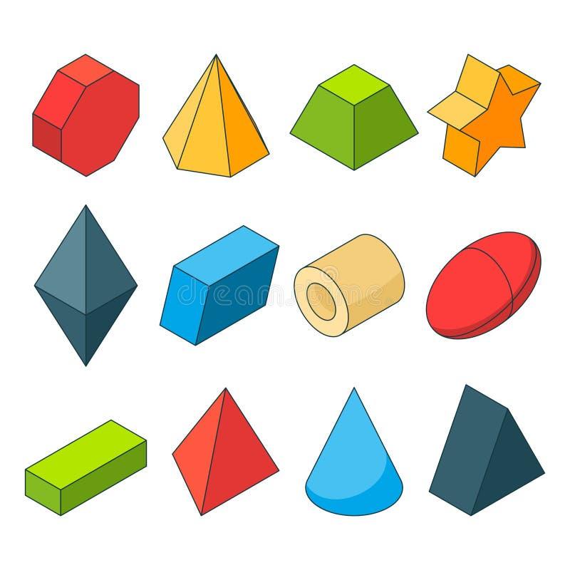 Photos isométriques colorées des formes de la géométrie Christal, cylindre, prisme et d'autres illustration de vecteur