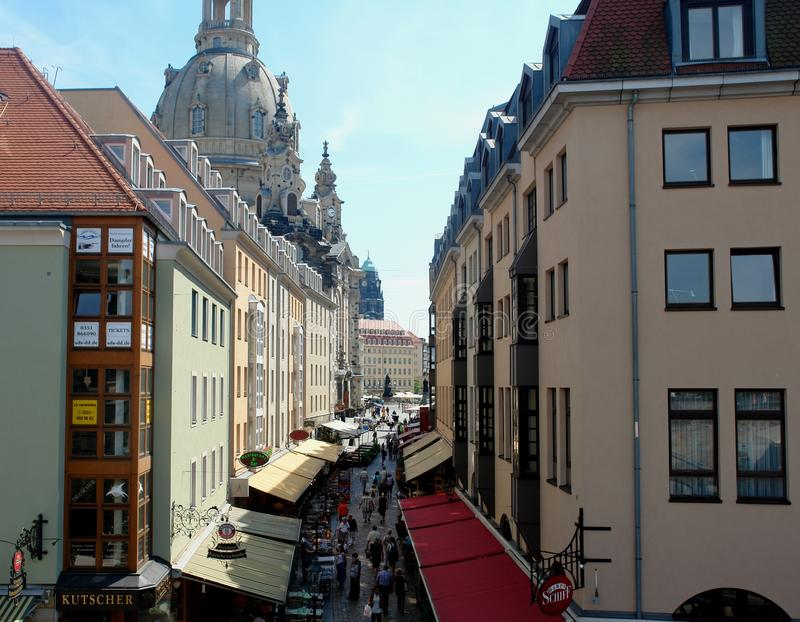 Photos with landscape background the European urban infrastructure, residential buildings, pedestrian street construction in downt. Own Dresden in Germany as the stock images