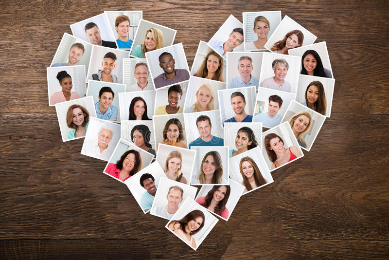 Photos Of People In A Heart Shape stock photo