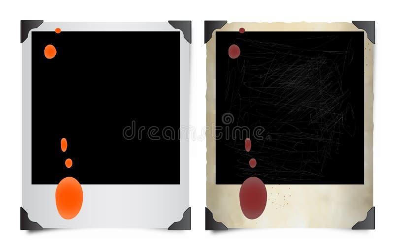 Photos polaroïd souillées illustration de vecteur