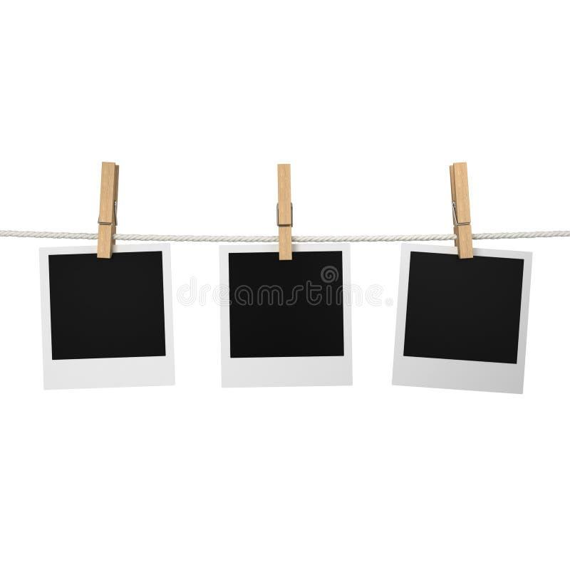 Photos s'arrêtant sur une corde illustration stock
