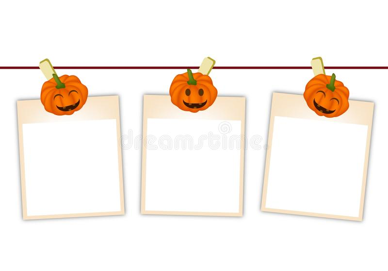 Photos vides avec le potiron de Halloween accrochant sur la corde à linge illustration stock
