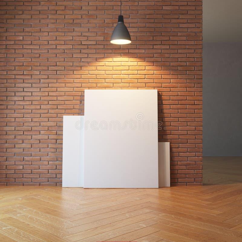 Photos vides sur le mur de briques illustration libre de droits