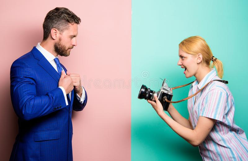 Photosession for business magazine. Handsome businessman posing camera. Nice shot. Fame and success. Businessman enjoy stock photo