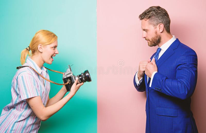 Photosession for business magazine. Handsome businessman posing camera. Nice shot. Fame and success. Businessman enjoy stock photography