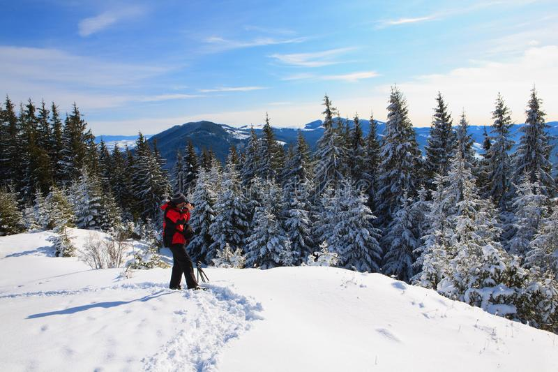 Photosession i vinterbergen arkivfoto