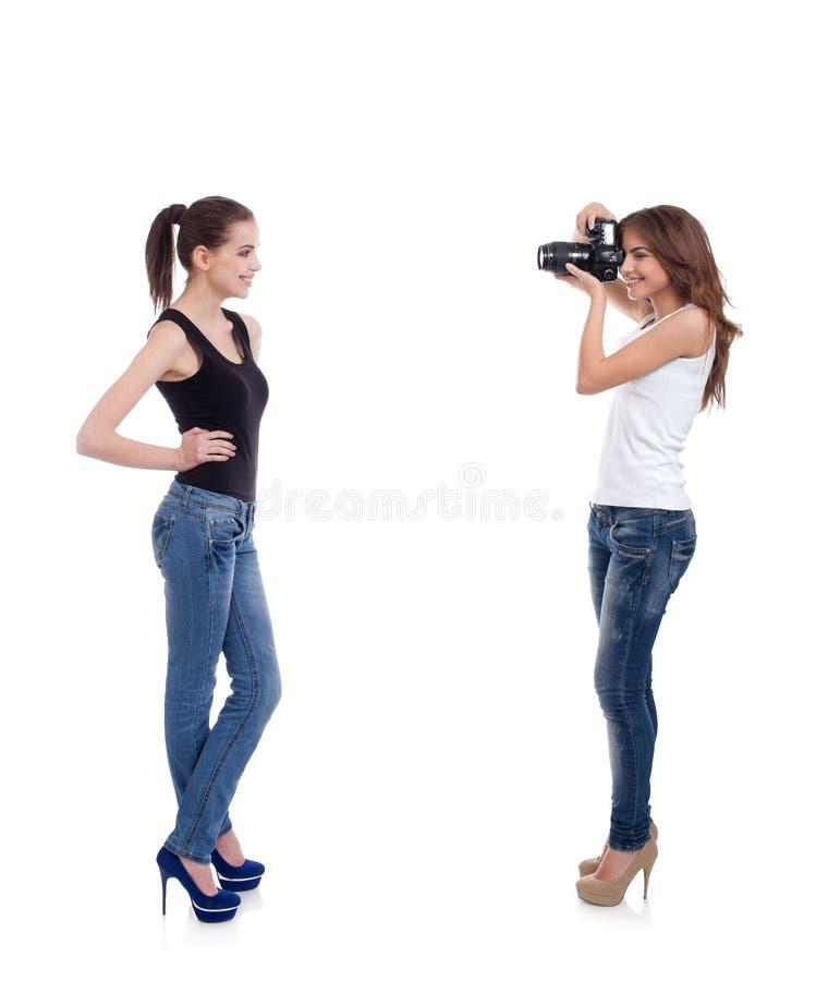 Photoshoot con un modello fotografia stock