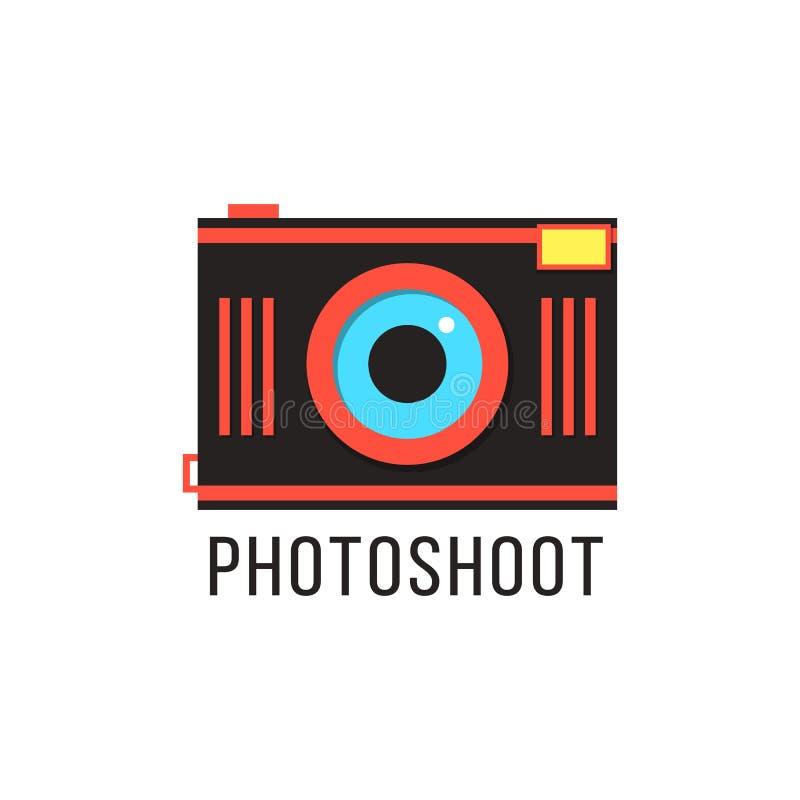Photoshoot ikona z czerwoną kamerą ilustracji