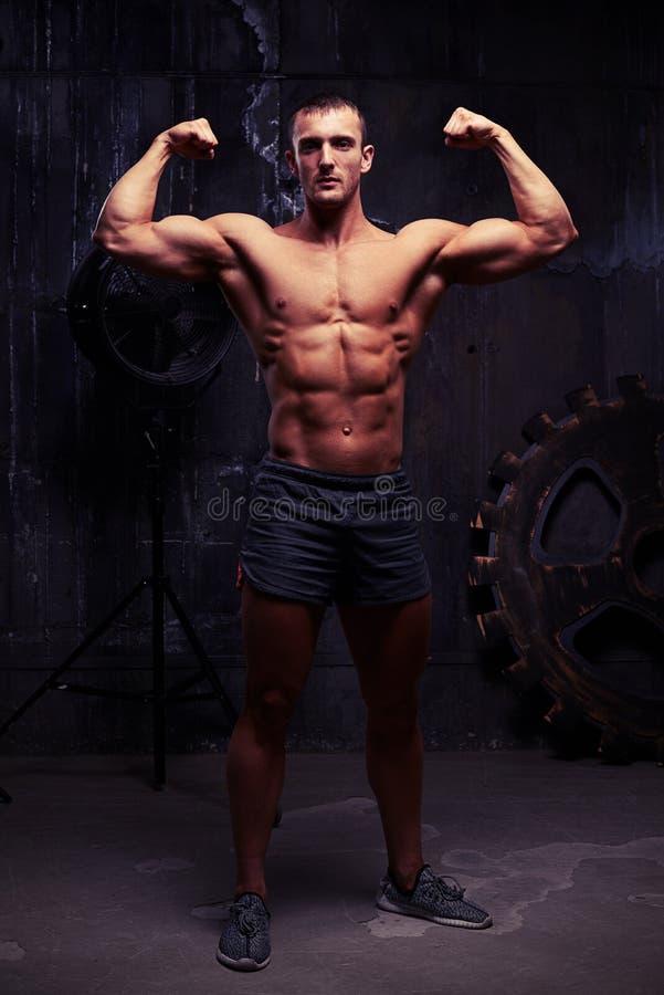 Photoshooting студии чуть-чуть-chested мышечного спортсмена с healt стоковое изображение rf