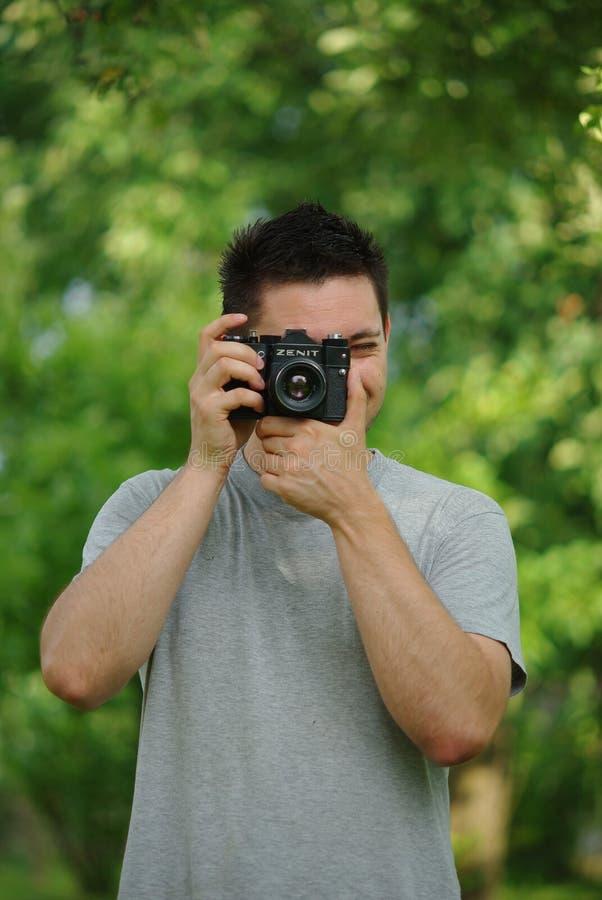 Photoshooting avec l'appareil-photo de zenit photographie stock libre de droits