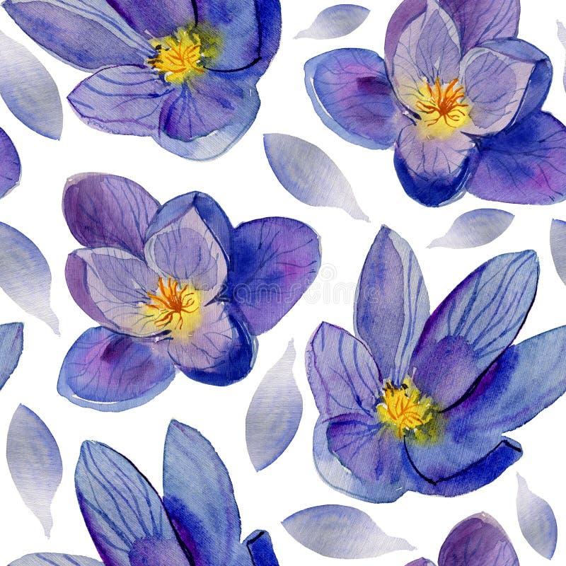 蓝色花 E 美丽的水彩花 库存照片