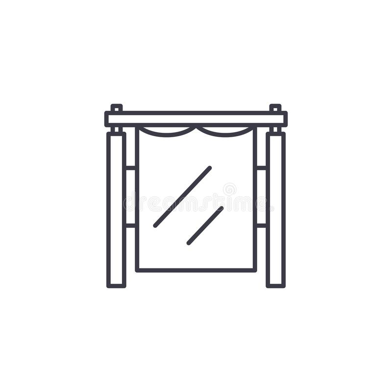 Photostudio线性象概念 Photostudio线传染媒介标志,标志,例证 库存例证