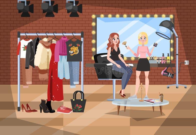 Photostudio interior. Woman in dressing room prepare stock illustration