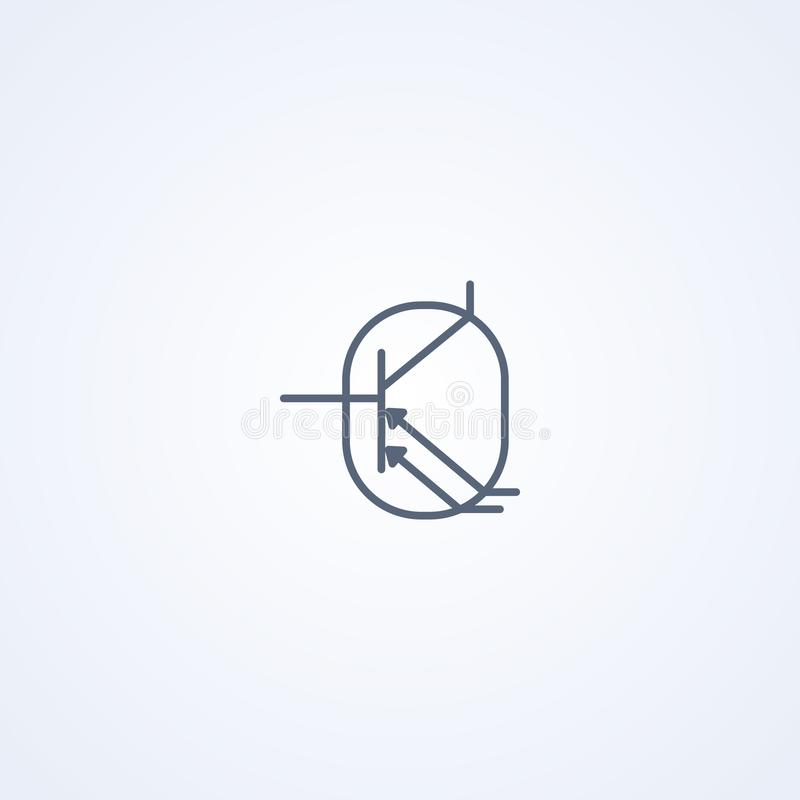 Phototransistor, vector best gray line symbol stock illustration