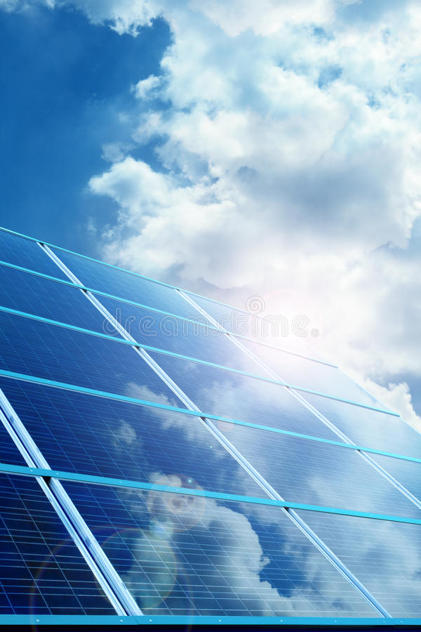 Photovoltaic. Industrial photovoltaic installation design on sunny day stock images
