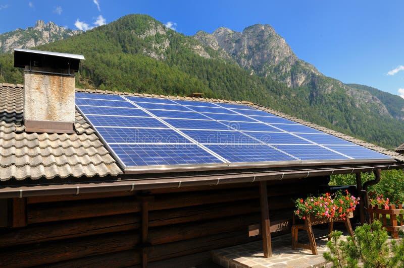 photovoltaic alpspaneler royaltyfria bilder