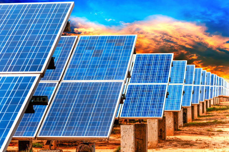Photovoltaic Cells. Or Solar Panels in sunlight stock photography