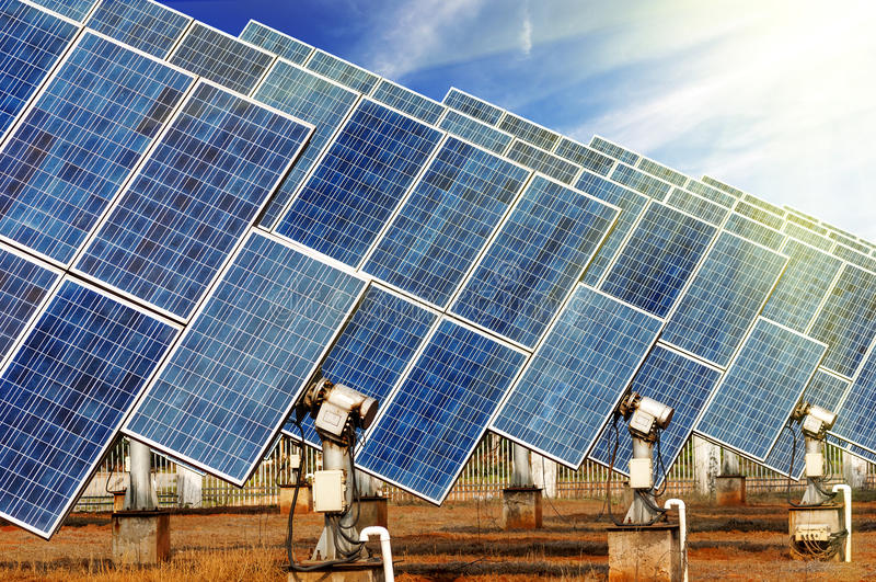 Photovoltaic Cells. Or Solar Panels in sunlight stock photos