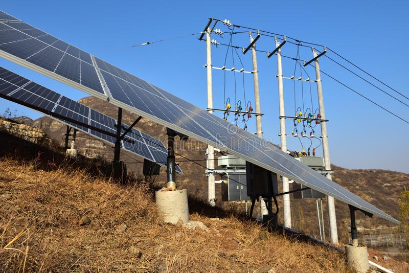 Photovoltaic grid connected power generation system stock photography