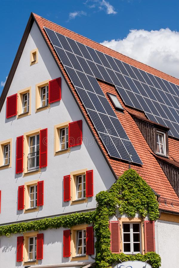 Photovoltaic. Installation on top of a roof stock photos