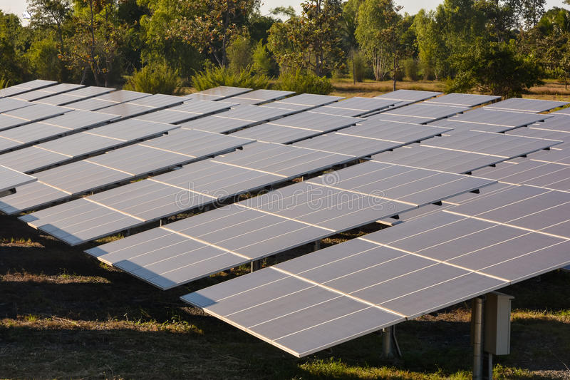Photovoltaic landbouwbedrijf van zonne-energiepanelen stock afbeelding