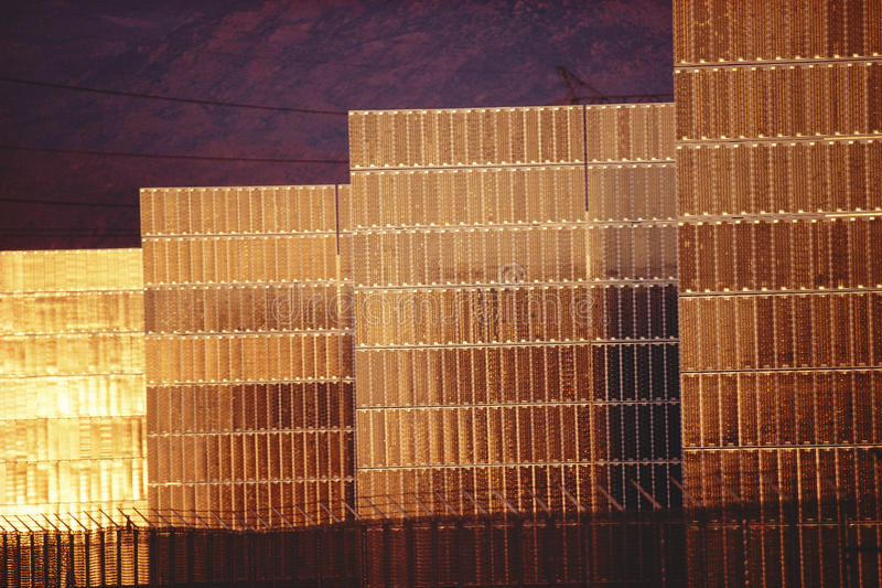 Photovoltaic panels. Solar photovoltaic panels at sunset stock image