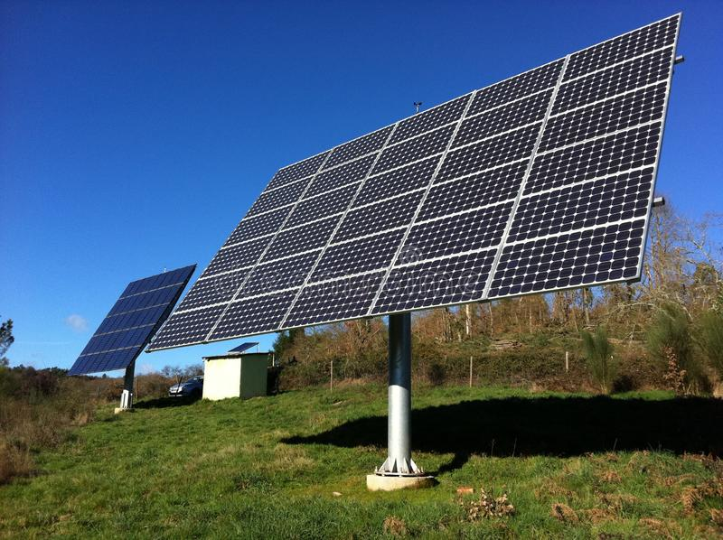 Photovoltaic installation working royalty free stock photos