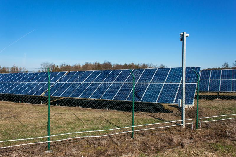 Photovoltaic power plant in the Czech Republic. Environmentally-friendly production of electricity. Modern technology. Photovoltaic power plant in the Czech royalty free stock photo