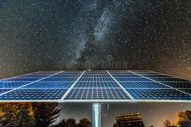 Photovoltaic solar panel at night royalty free stock photography