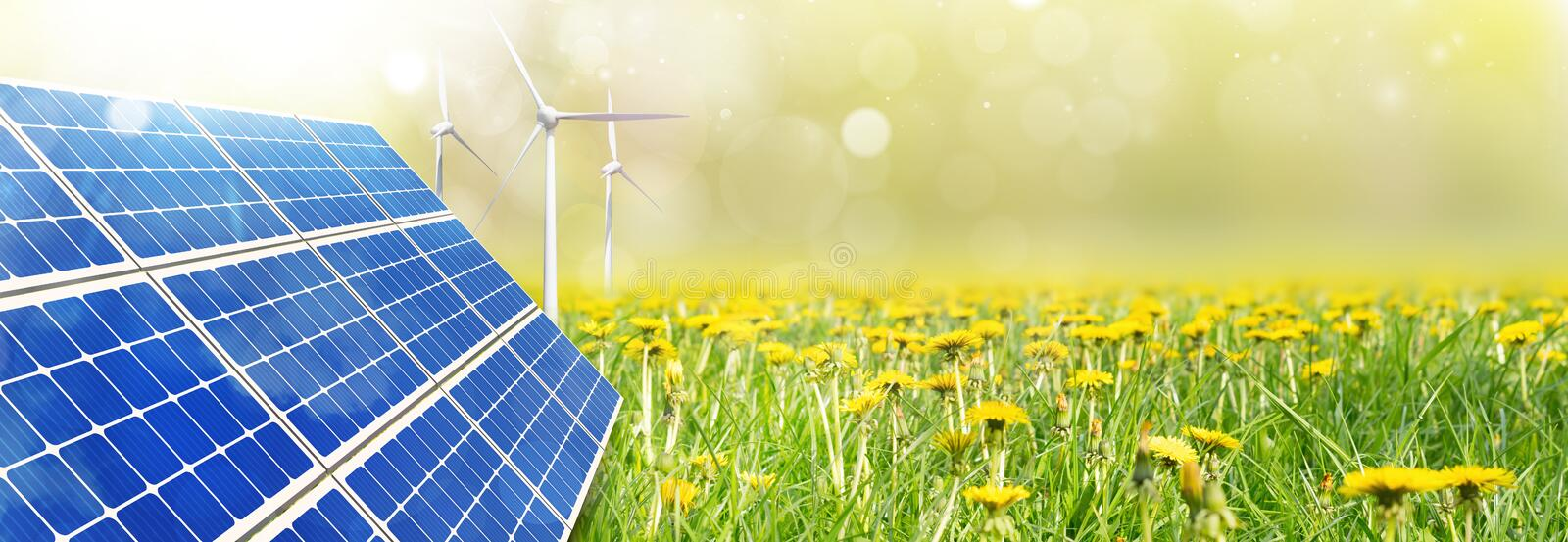 Photovoltaic solar panel and wind turbines Panoramic view. royalty free stock photos