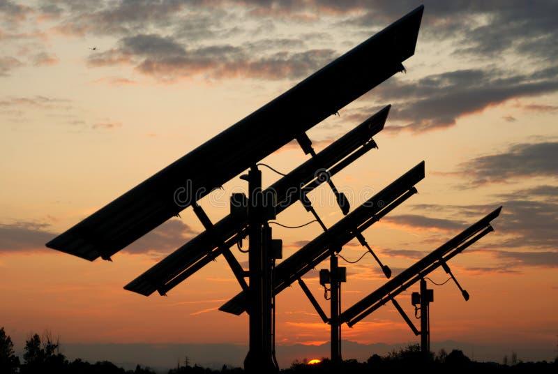 photovoltaic solnedgång arkivbilder