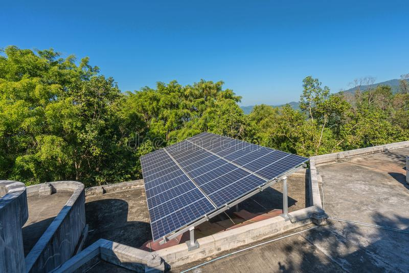 Photovoltaic using renewable solar energy in forest.  royalty free stock photos