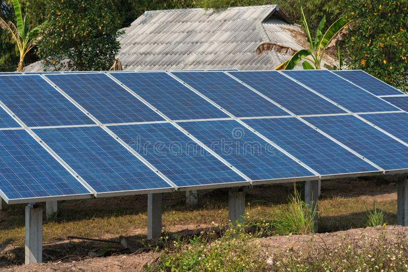 Photovoltaic using renewable solar energy in forest.  royalty free stock photo