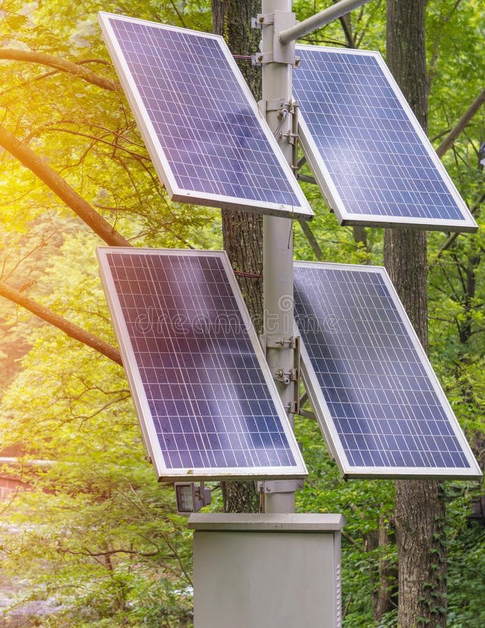 Photovoltaic using renewable solar energy in forest.  stock photos