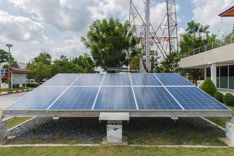 Photovoltaic using renewable solar energy for office building.  stock images
