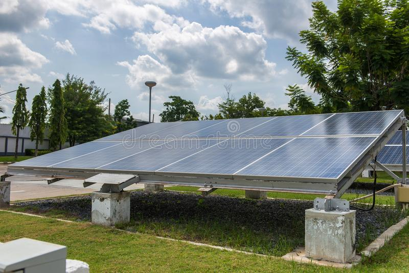 Photovoltaic using renewable solar energy for office building.  royalty free stock photo