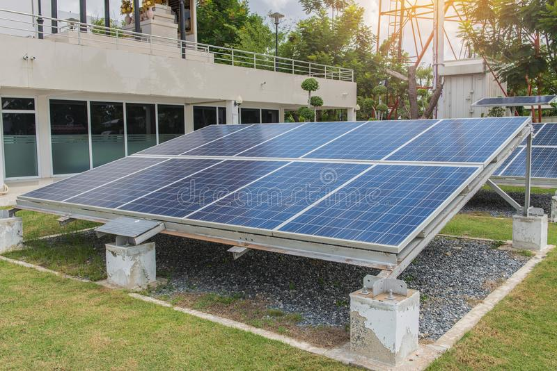 Photovoltaic using renewable solar energy for office building.  royalty free stock photography