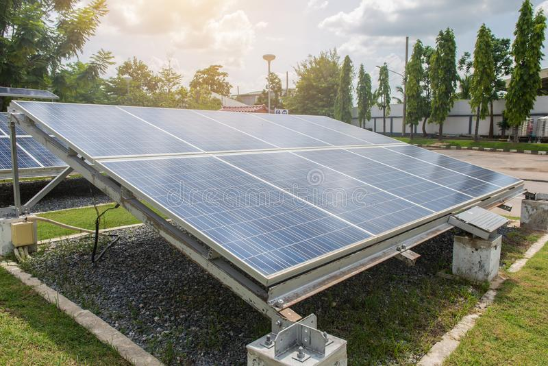 Photovoltaic using renewable solar energy for office building.  stock image